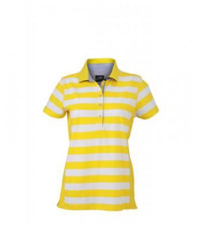 James & Nicholson Sárga Csíkos női galléros póló