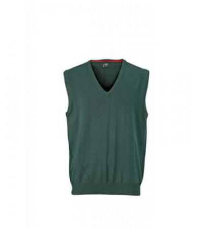 James & Nicholson sötétzöld színű Férfi V-nyakú ujjatlan pulóver