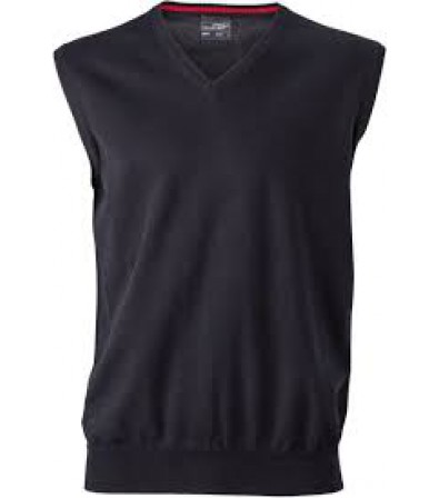 James & Nicholson fekete színű Férfi V-nyakú ujjatlan pulóver