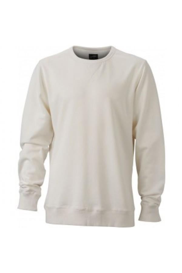 James & Nicholson Elegáns Férfi Kerek nyakú fehér színű pulóver