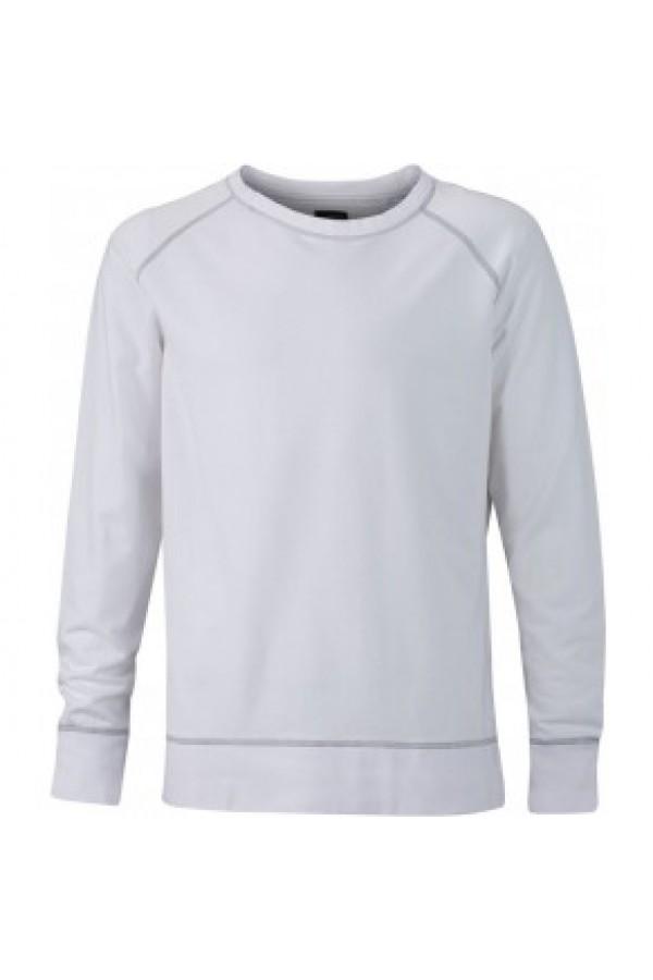 James & Nicholson Elegáns Férfi Kerek nyakú fehér pulóver