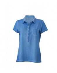 James & Nicholson női farmerkék színű galléros póló