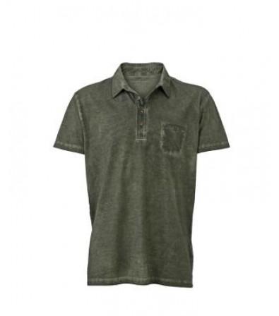 James & Nicholson Férfi olivazöld színű galléros póló
