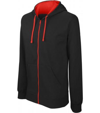Férfi kontrasztos kapucnis pulóver