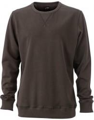 James & Nicholson Elegáns Férfi Kerek nyakú barna színű pulóver