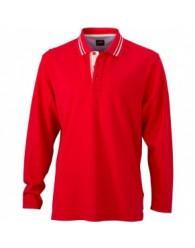 James & Nicholson Férfi piros színű galléros hosszú ujjú póló