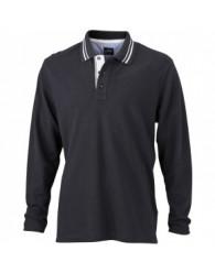 James & Nicholson Férfi fekete színű galléros hosszú ujjú póló