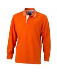 James & Nicholson Férfi narancs színű galléros hosszú ujjú póló