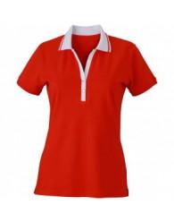 James & Nicholson Piros Női elasztikus Piqué Polo