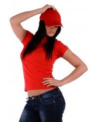 Női Galléros Póló - Piros